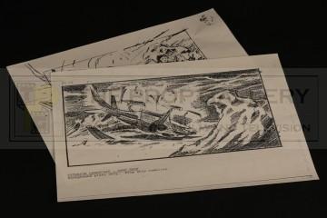 Production used storyboards - Dropship crash