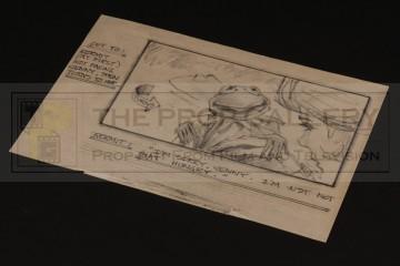 Hand drawn storyboard artwork - Kermit the Frog
