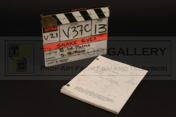 Production used clapperboard & signed script