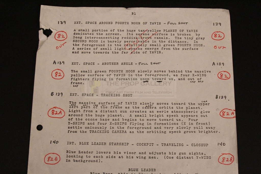 The Prop Gallery Fourth Draft Annotated Script Page