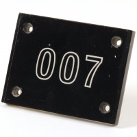 Roger Moore (James Bond) 007 dressing room door plaque