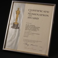 Brian Johnson Academy Award nomination certificate
