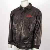 Leather crew jacket