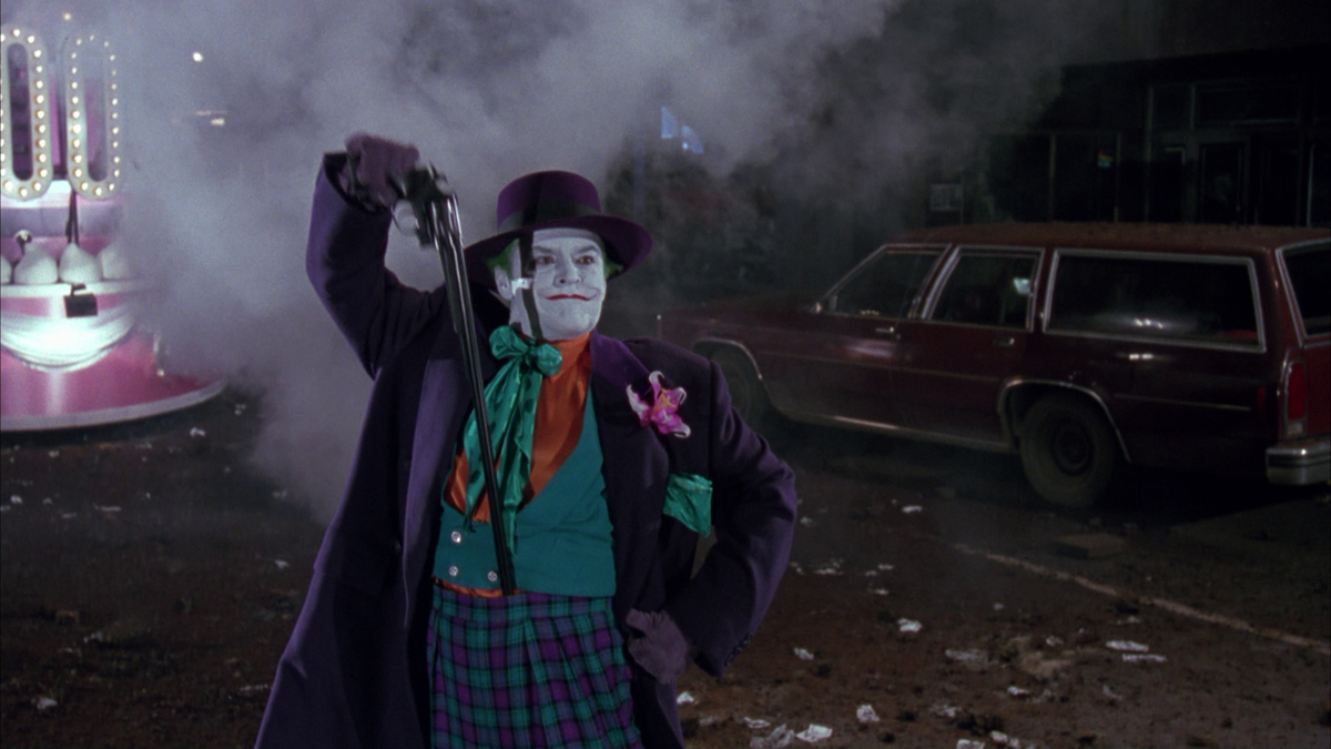 Jack Nicholson as The Joker on screen in Batman