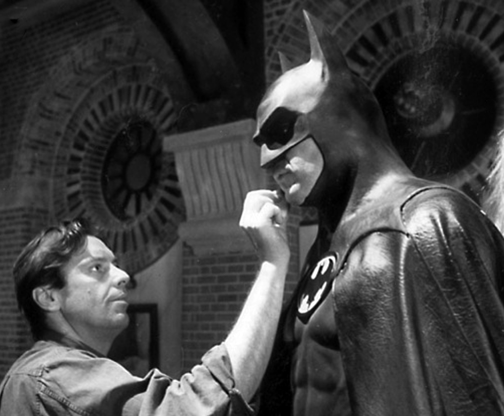 Michael Keaton gets touched up behind the scenes on Batman (1989)