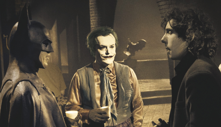 Michael Keaton and Jack Nicholson receive some direction from Tim Burton behind the scenes on Batman.