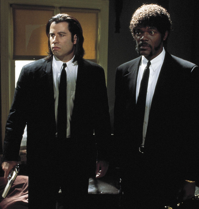 John Travolta and Samuel L. Jackson as Vincent Vega and Jules Winnfield in Pulp Fiction