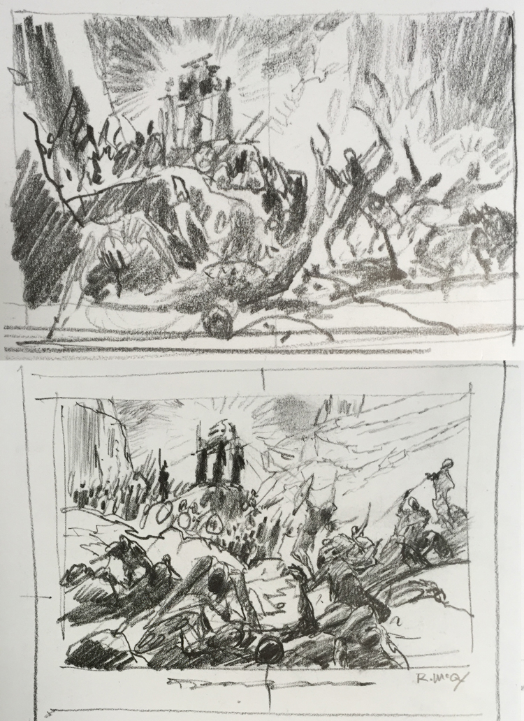 Rough bible page concept designs by Ralph McQuarrie.