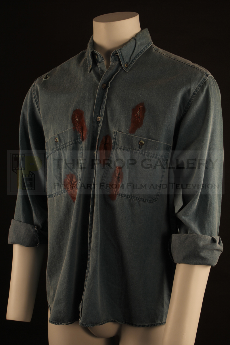 Original bullet hit shirt worn on screen by Frank Whaley as Brett in Quentin Tarantino's Pulp Fiction