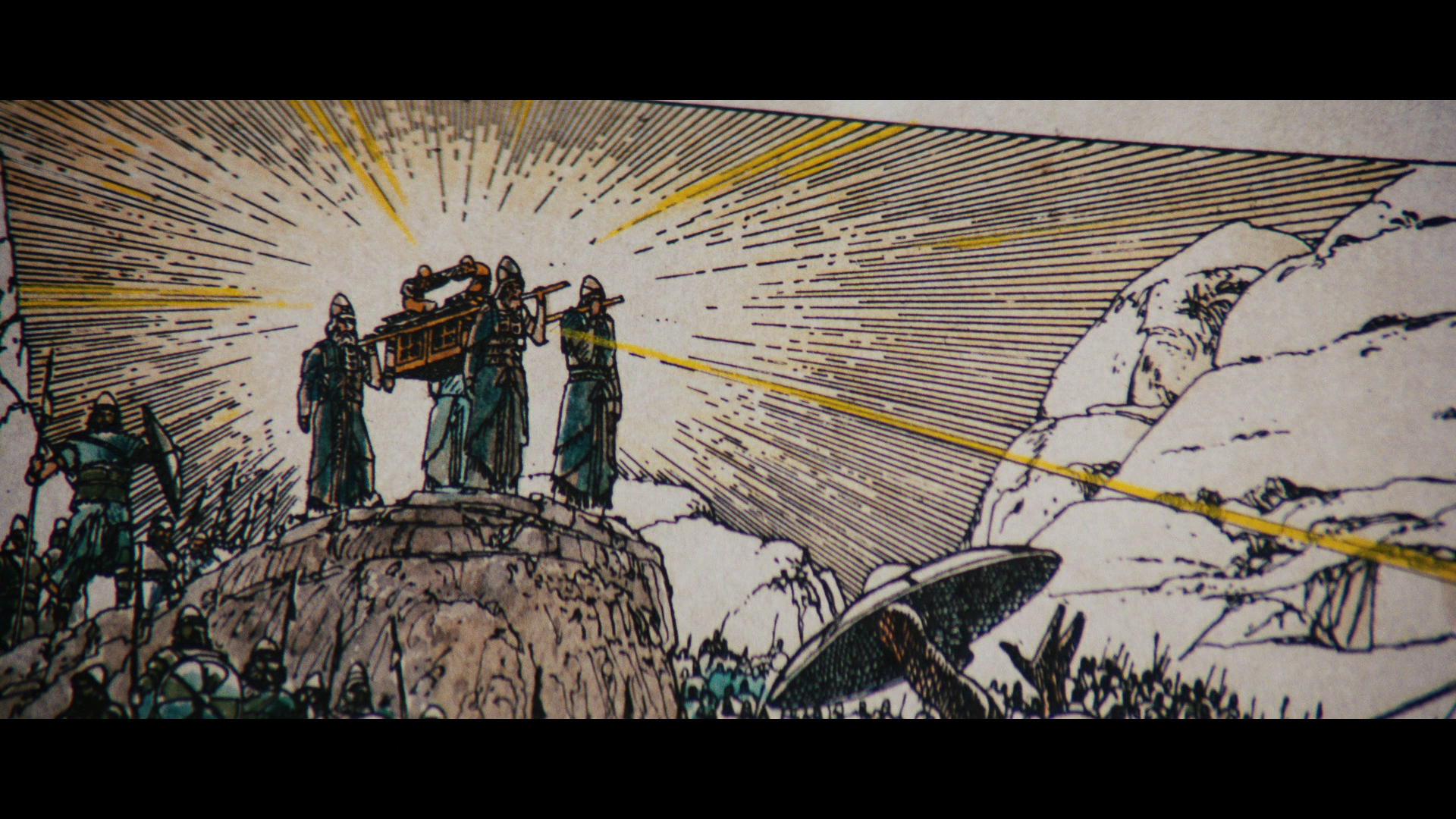 The Ark of the Covenant bible page on screen in Raiders of the Lost Ark.
