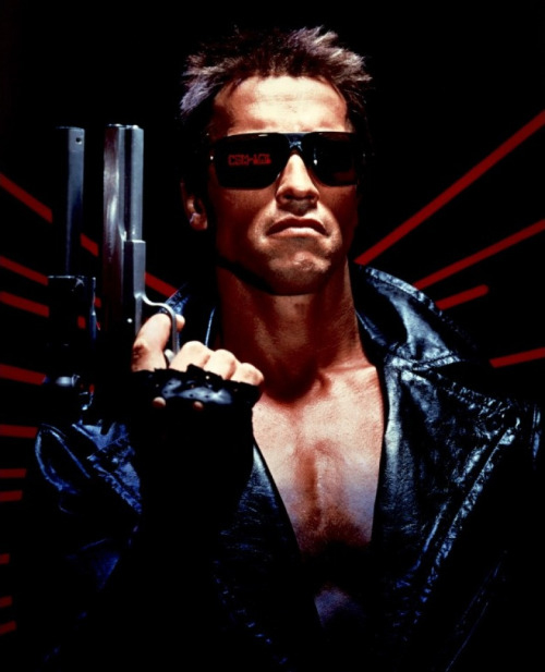 Arnold Schwarzenegger as The Terminator in the now iconic publicity shot.
