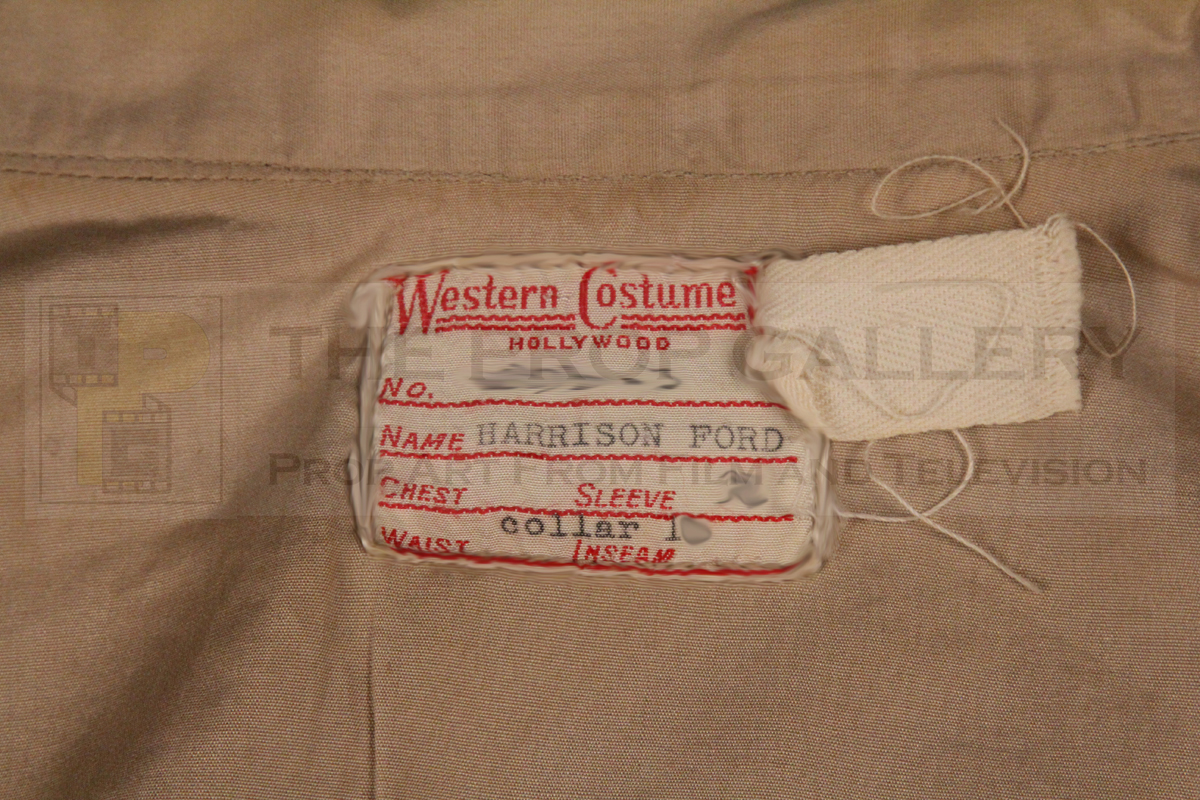 Original shirt worn on screen by Harrison Ford as Indiana Jones in Raiders of the Lost Ark