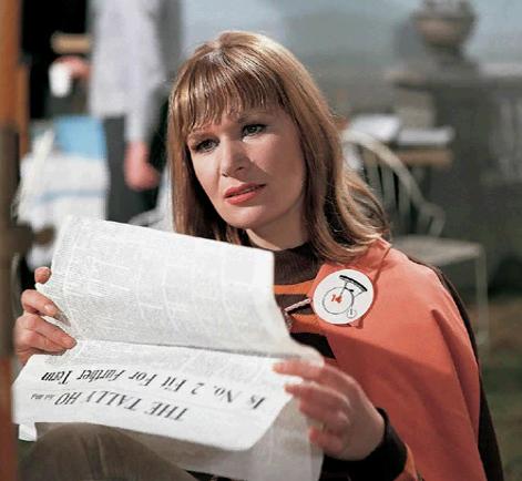 Sheila Allen on the set of The Prisoner