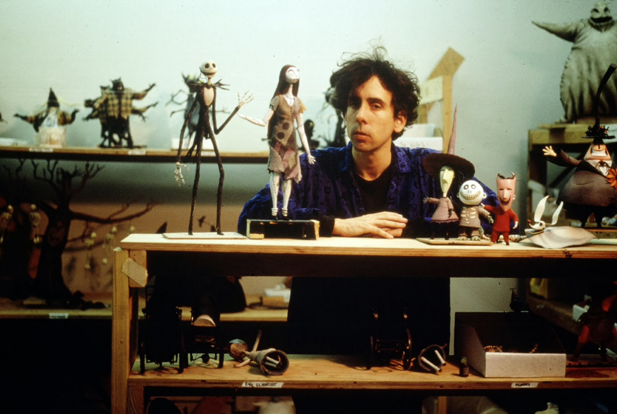 Tim Burton with the cast of The Nightmare Before Christmas (1993)