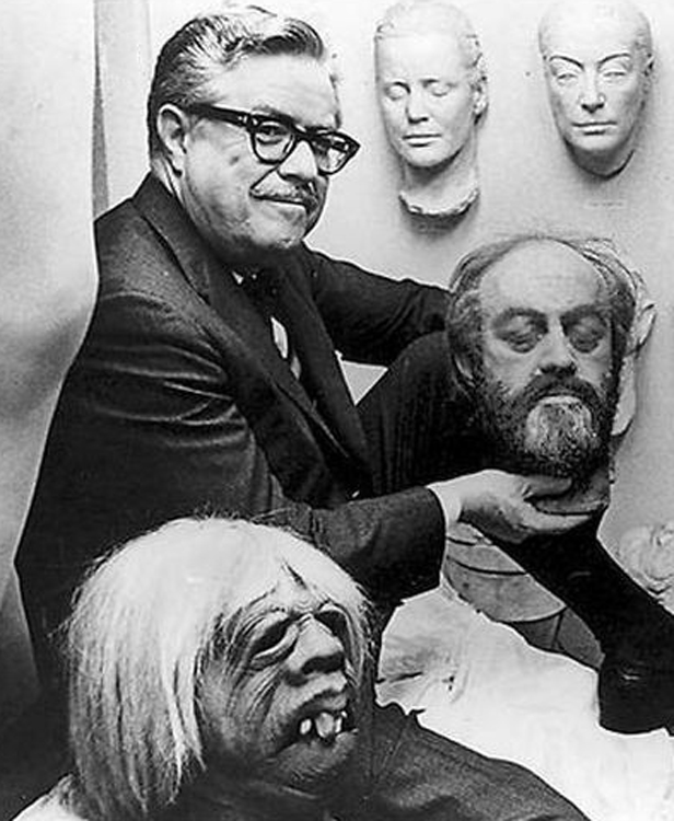 William Tuttle with some of his creations at MGM, including an original Morlock