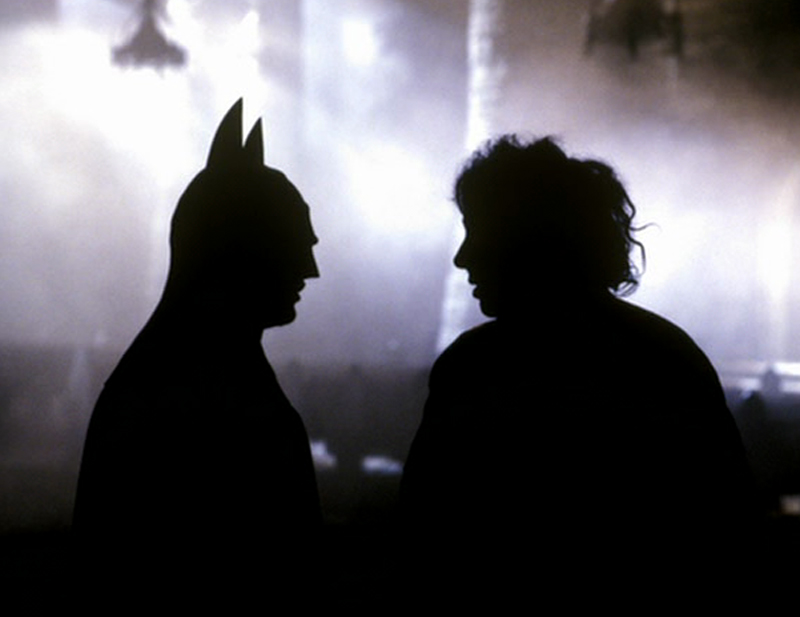 Michael Keaton and Tim Burton on the set of Batman (1989).