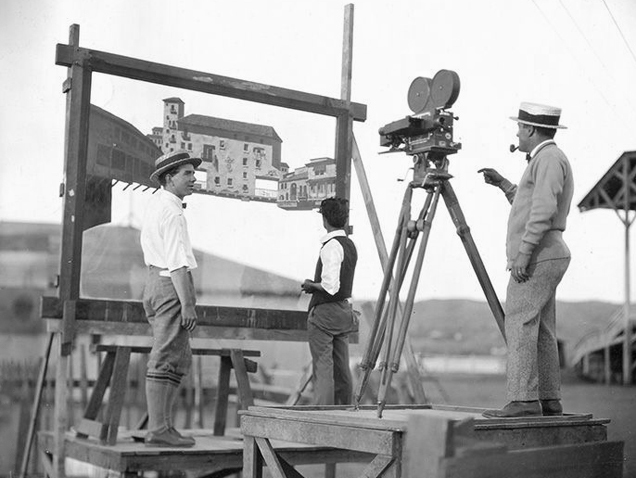 Setting up a typical glass shot circa 1925 - 1930