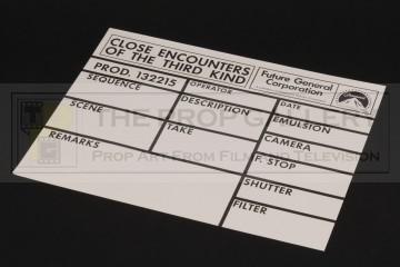 Visual effects camera slate