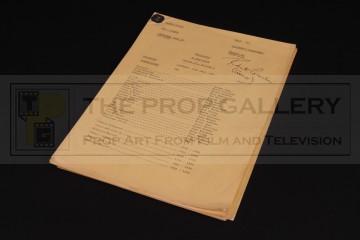 Production used camera script