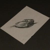 Hand drawn Lightning McQueen poster concept artwork