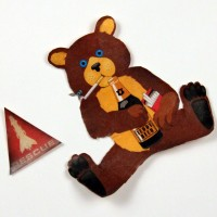 Production made teddy bear & rescue stickers