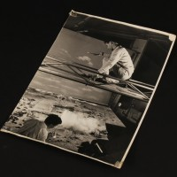 Vintage publicity still - Derek Meddings flying XL5