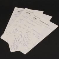 Hand written animation notes