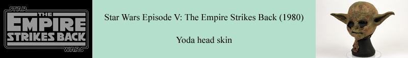 Original Yoda head skin used in Star Wars Episode V The Empire Strikes Back