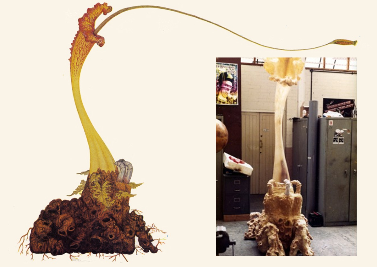 Steve Drewett's original design for the Triffid plants and inset one of the props under construction at the BBC Visual Effects Department.
