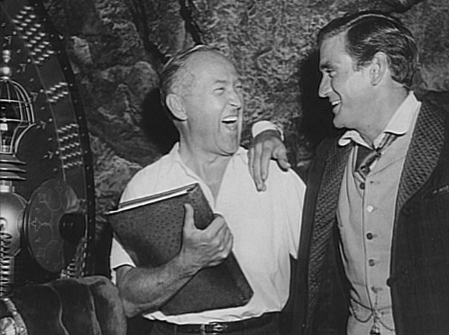 Director George Pal and Rod Taylor on the set of The Time Machine (1960)