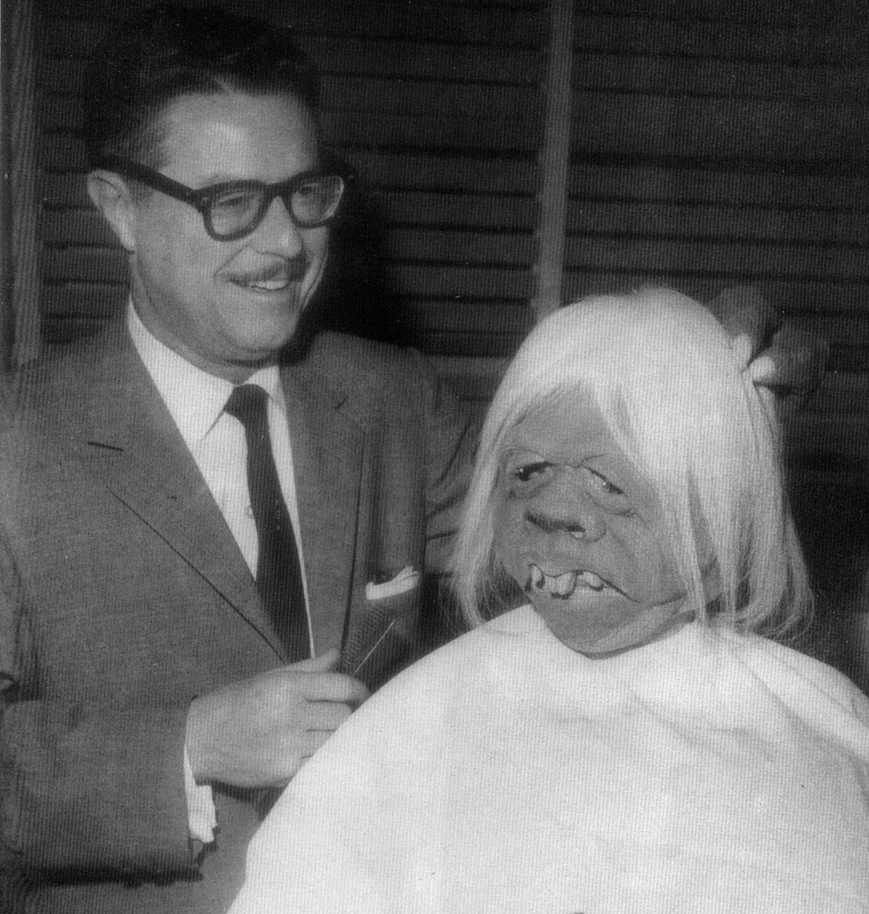 William Tuttle and a Morlock in make up behind the scenes on The Time Machine (1960)
