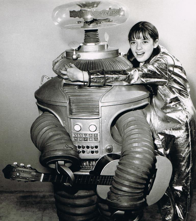 Publicity shot of Angela Cartwright and the Robot prop