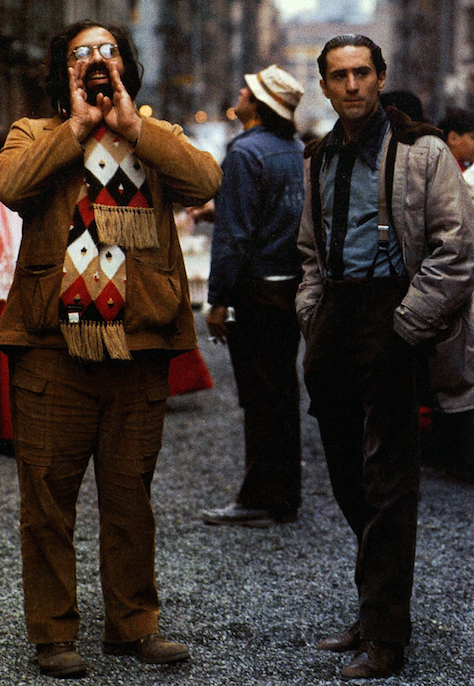 Director Francis Ford Coppola and Robert De Niro behind the scenes during filming of The Godfather Part II