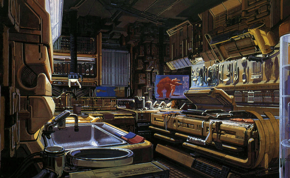 Syd Mead's concept design Deckard's apartment in Blade Runner (1982)