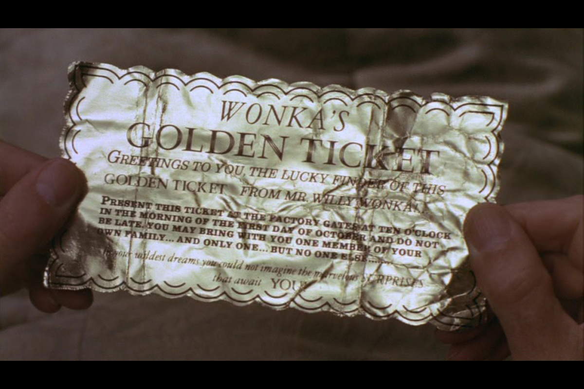 The Golden Tickets seen on screen